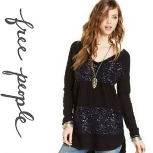Free People Sequin Stripe Rugby Sweater Tunic